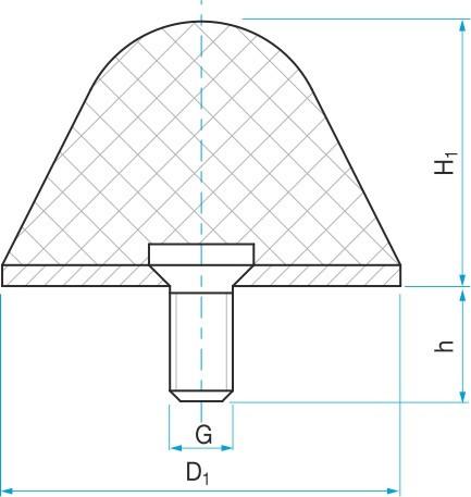 Pryžový doraz kuželový typ.16 - 70x70 M12x24 50Sha tvar 80.16 - N2