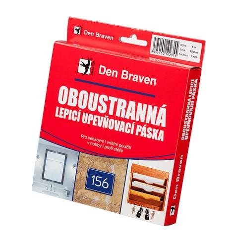 Den Braven Oboustranně lepicí upevňovací páska v návinech rolí - 25 x 1 mm x 10 m bílá - N2