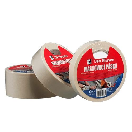 Den Braven Maskovací krepová páska 60 °C - 50 m x 19 mm světle žlutá - N2
