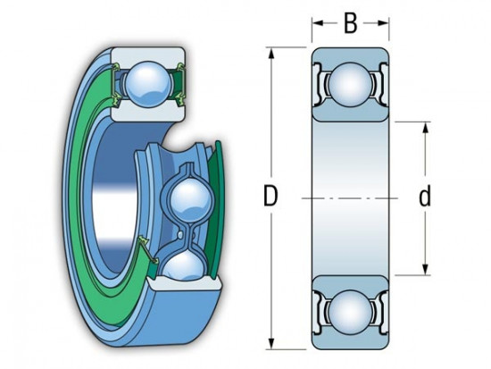 EZO 63801-2RS kuličkové ložisko - N2