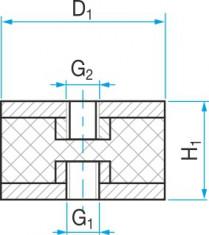 Silentblok typ 3 - 30x30 M8 tvar 80.12