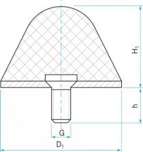 Pryžový doraz kuželový typ.16 - 70x70 M12x24 50Sha tvar 80.16