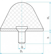 Pryžový doraz kuželový typ.16 - 18x18 M6x10 50ShA tvar 77.16