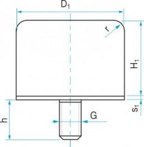 Silentblok - doraz čtvercový se šroubem typ GP-1G 50x40 M10x28