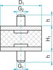 Silentblok typ 1 - 70x48 M12x24 50ShA tvar 87.12