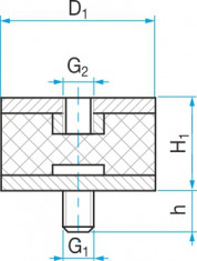 Silentblok typ 2 - 18x20 M 6x10 50ShA tvar 42.12
