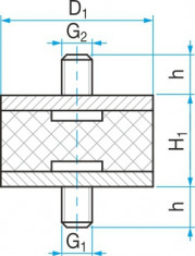 Silentblok typ 1 - 100x55 M16x46 - N1