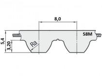 Řemen ozubený metráž S8M 10 mm - optibelt ALPHA Linear ocel - N1