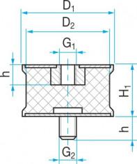 Silentblok SP2 - 46x40/25 M10/M10x28 - N1