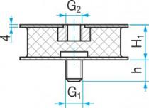 Silentblok KR2 - 105/55 M16x30/M16 - N1