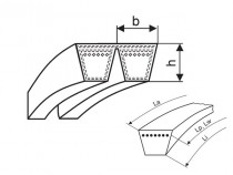 Klínový řemen násobný 2-B 2845 Li (B 112) optibelt KB VB - N1