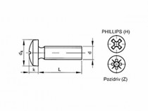 Šroub s drážkou Phillips DIN 7985 M2x4 pozink - N1