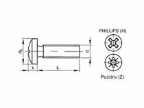 Šroub s drážkou Phillips DIN 7985 M2x5 pozink - N1
