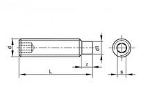Šroub stavěcí s čípkem-inbus DIN 915 M8x35 pozink