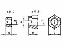 Matice korunková DIN 935 M10x1,00  08  - N1