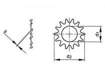 Podložka s vnějším ozubením DIN 6797A M3 / 3,2 pozink - N1
