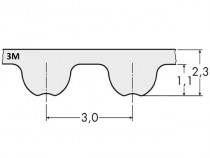 Řemen ozubený 150 3M 15 Gates Powergrip GT3 - N1