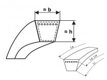 Klínový řemen 13x2440 Li - A 2475 Lw (A96) Gates HI-Power - N1