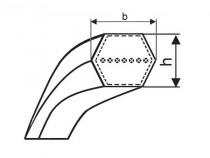 "Klínový řemen oboustranný HBB 1215 Lw BB 45"" Gates HI-Power Dubl-V"