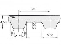 Řemen ozubený T10 1800 Gates Synchro Power rukáv - N1